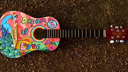 painted guitar wallpaper