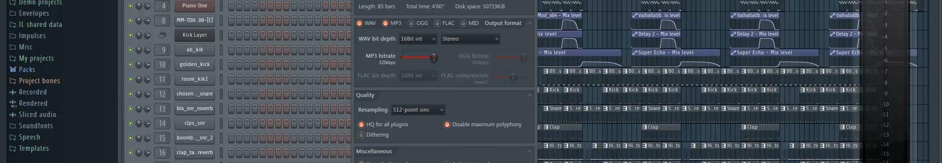 mp3 wav export settings fl studio