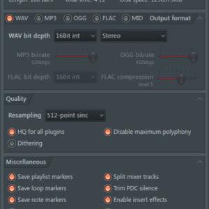 FL Studio best wav export settings